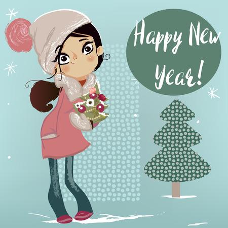 schattig winter meisje met kerstboom op haar handen