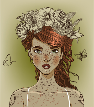 Jonge mooie vrouw met bloemen.