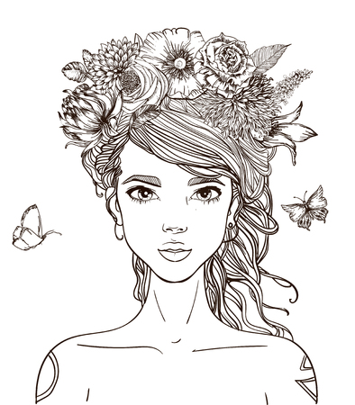 花を持つ若い美しい女性