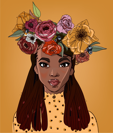 young beautiful african woman with flowers
