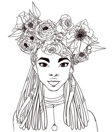 Junge schöne afrikanische Frau mit Blumen Standard-Bild - 86846065