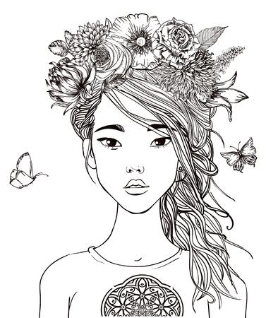 花を持つ若い美しいアジアの女性の肖像画  イラスト・ベクター素材