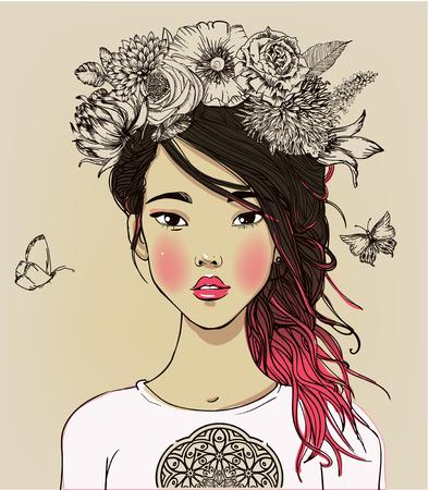 Portret van jonge mooie Aziatische vrouw met bloemen Stock Illustratie