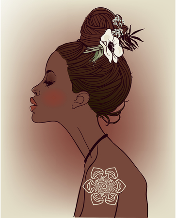 花を持つ美しいアフリカ女