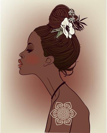 Jonge mooie Afrikaanse vrouw met bloemen Stock Illustratie