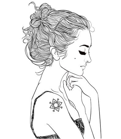 Profilo ritratto di giovane donna bella
