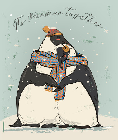 couple of penguins with warm scarf in love