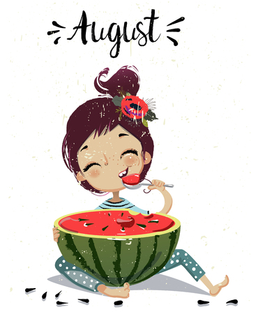 cartoon meisje met watermeloen Stock Illustratie