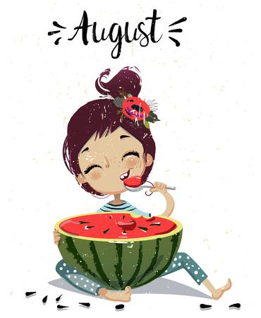Comic-Mädchen mit Wassermelone Standard-Bild - 87355029