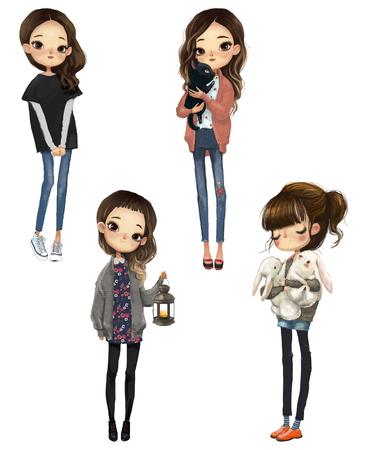 ingesteld met cartoon schattige meisjes