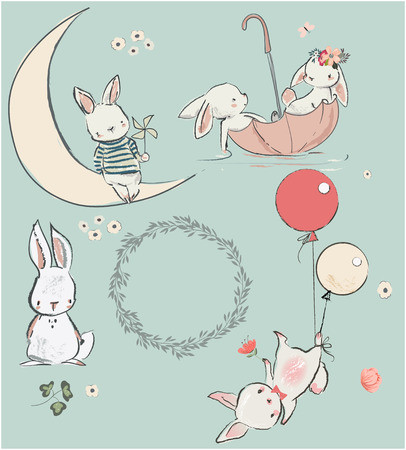 set with cute white hares. vector illustration