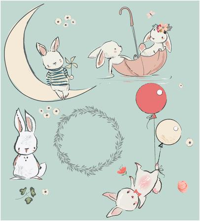 zestaw z cute białe zające. ilustracji wektorowych Ilustracje wektorowe