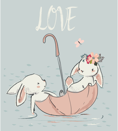 Couple of cute white hares. vector illustration