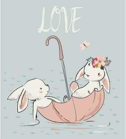 Para słodkie białe zające. ilustracji wektorowych Ilustracje wektorowe