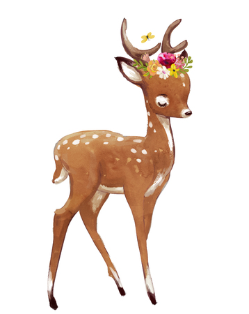 かわいい水彩夏鹿