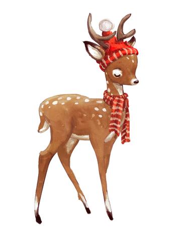 귀여운 수채화 겨울 사슴