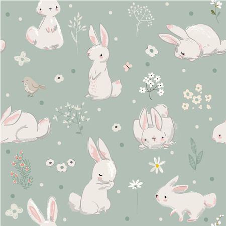 Pattern with cute little hares