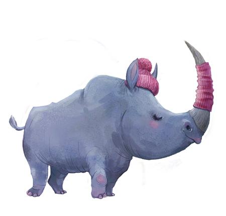 cute watercolor winter rhinoceros