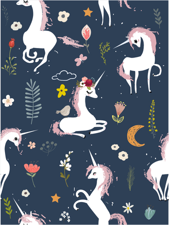 Seamless pattern with cartoon unicorns and flowers.