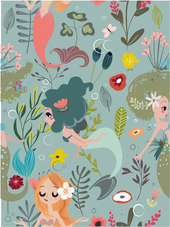 Seamless pattern with cartoon mermaids and flowers