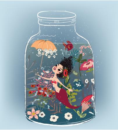 girlish: Cute cartoon mermaid with flower wreath and umbrella