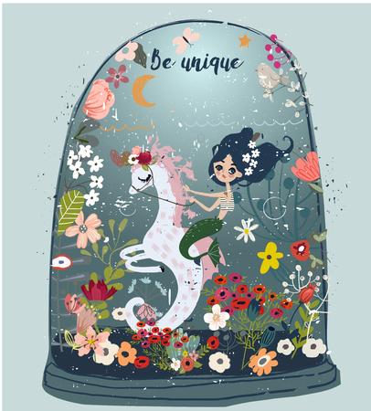 Cute cartoon style mermaid drawing riding a seahorse with flowers and sea plants on the backdrop.