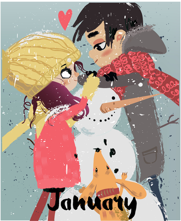 Cute winter cartoon couple with snowman and dog.