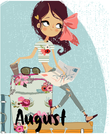 cute cartoon girl with suitcases Imagens
