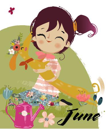 enfant maillot de bain: Fille automne dessin animé mignon Illustration
