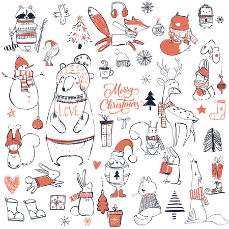 Set with cute christmas animals Illustration