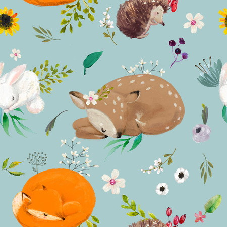 seamless pattern with animals with flowers Stock Photo