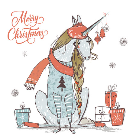 cute vector christmas unicorn with warm clothes Stock Photo