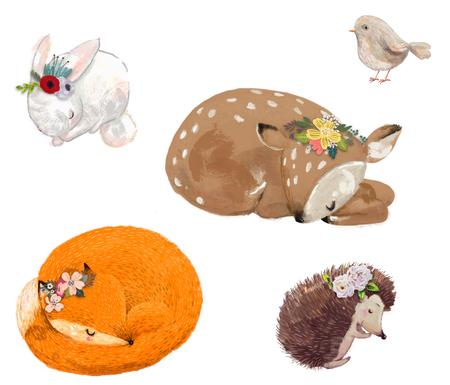 set van schattige dieren met bloemen krans Stockfoto