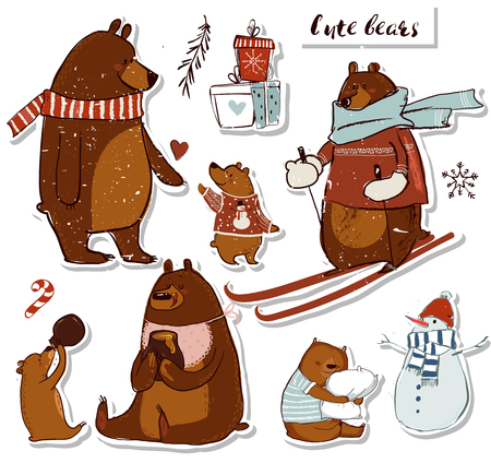 set with cute bears Ilustração