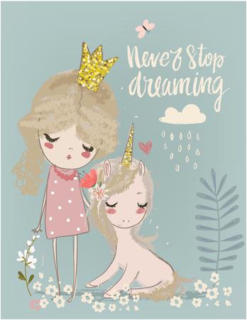 Cute cartoon unicorn with with little princess