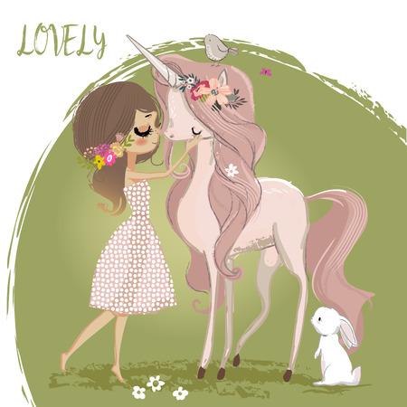 Lindo unicornio con niña Foto de archivo - 90517289