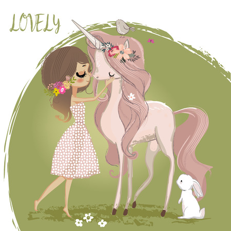Cute unicorn with girl