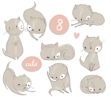 Set with cute cartoon kitten Vectores