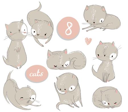Set with cute cartoon kitten Illustration