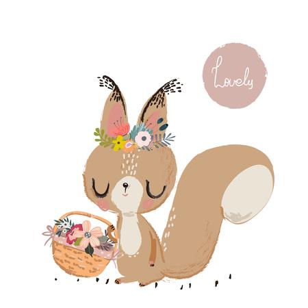 Cute summer squirrel Illusztráció