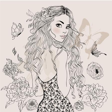 美しい夏の少女  イラスト・ベクター素材