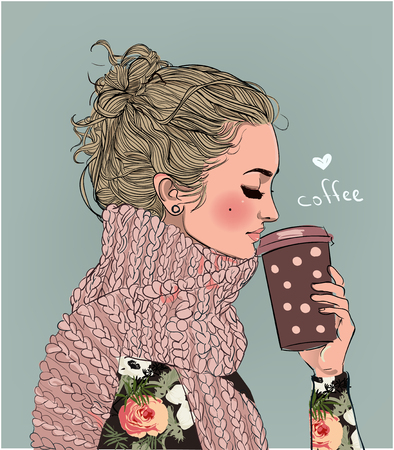 cute winter girl with coffee cup