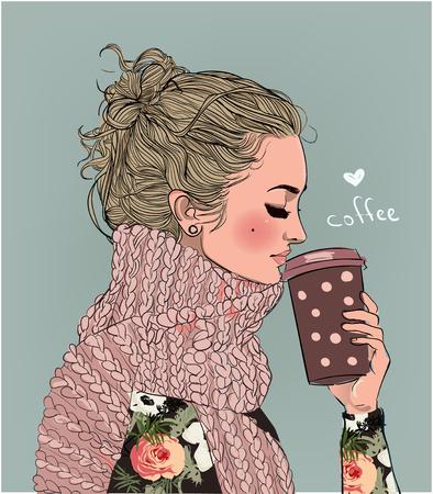 schattig winter meisje met een koffiekopje Stockfoto