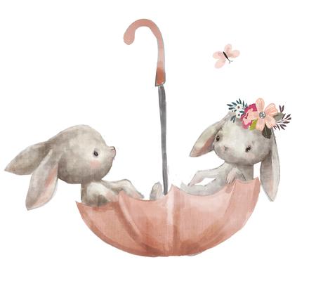 2つのかわいいウサギ