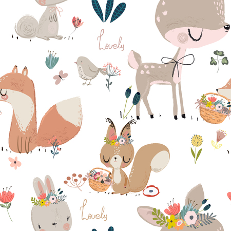 Seamless pattern with cute animals. Çizim
