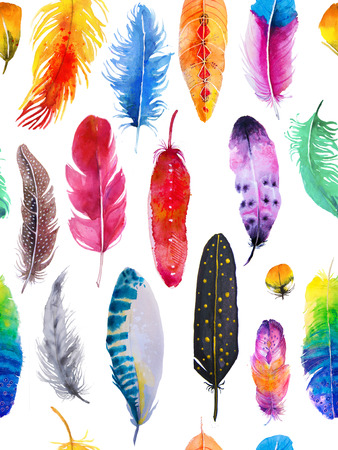 seamless pattern with watercolor feathers