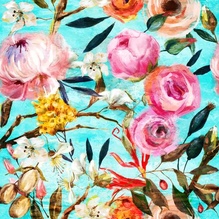 oil painted seamless floral pattern Zdjęcie Seryjne