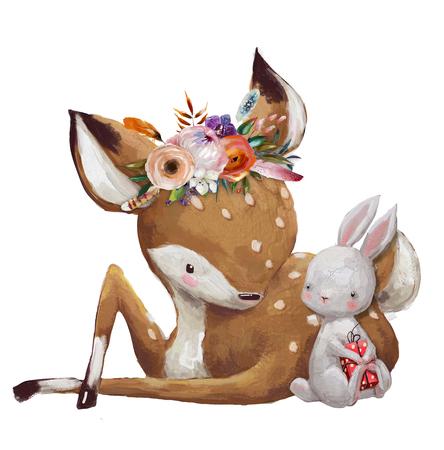 작은 사슴과 귀여운 작은 토끼 스톡 콘텐츠