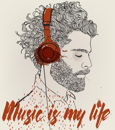 Hipster fashion Barber men with headphones. Vector illustration. Illustration