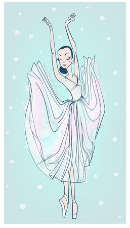 vector dancing beautiful ballerina in sketchy style Illustration